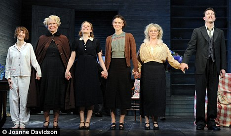 Take a bow: Knightley and Moss were joined by co-stars (L-R) Bryony Hannah, Ellen Burstyn, Carol Kane and Tobias Menzies