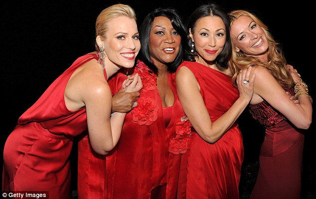 All the ladies! Natasha, Patti, journalist Ann Curry and British presenter Cat Deeley clown around for the cameras inside
