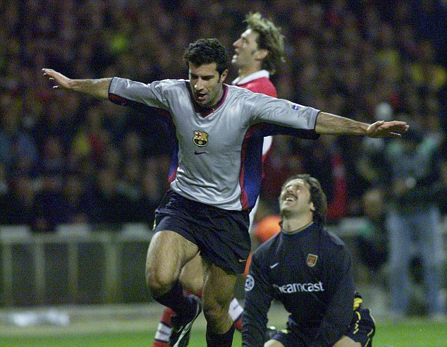 Going out: Luis Figo scores Barcelona's third in a 4-2 win at Wembley in 1999