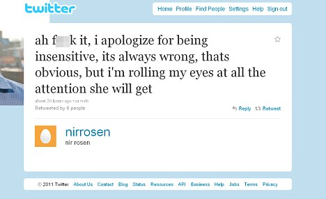 Cynical: Rosen's first attempt at an apology was half-hearted