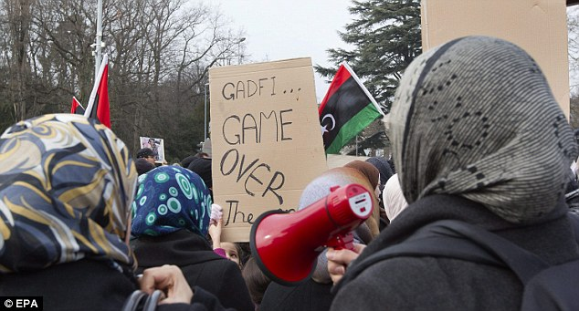 Game over: Protesters demanded that Gaddafi stop the bloodshed and relinquish his position