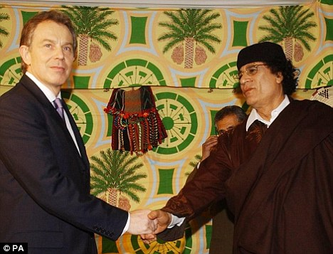 Tony Blair allegedly requested the meeting with Colonel Gaddafi which took place in a tent