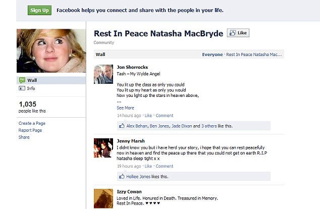 Grieving: Some of the more touching comments that were left on the Facebook page before it was taken down