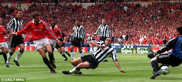 Wembley woe: Teddy Sheringham scores Manchester United's first in the 2-0 defeat in 1999's FA Cup final