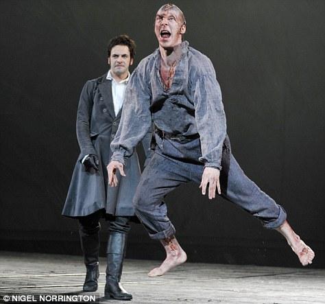 Benedict Cumberbatch as the Creature and Jonny Lee Miller as Victor Frankenstein.
