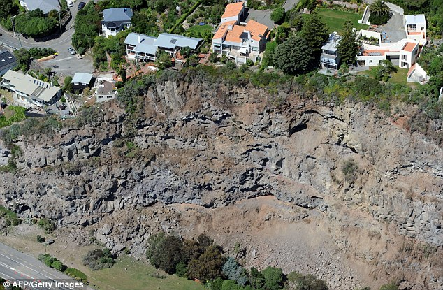 Precipice: A landslide brought these house to the edge in the suburb of Sumner