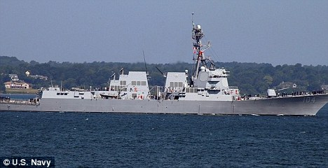 Dispute: The USS Sterett, pictured, was 600 yards away from the hijacked yacht when the pirates fired a rocket-propelled grenade at it. But the pirates claim that the warship fired on them first - so they killed the hostages