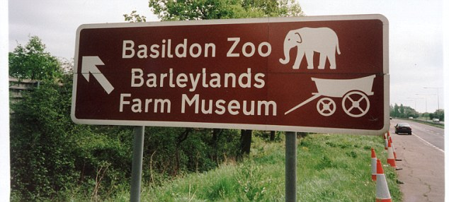 Attractions: Sign post for Basildon Zoo, and Barleylands Farm Museum