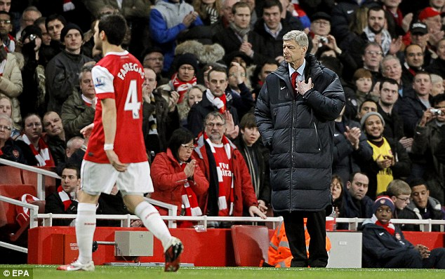 Big blow: Arsene Wenger will be without Cesc Fabregas for Sunday's showdown