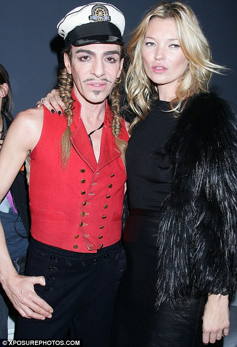 High-profile friends: John Galliano with model Kate Moss