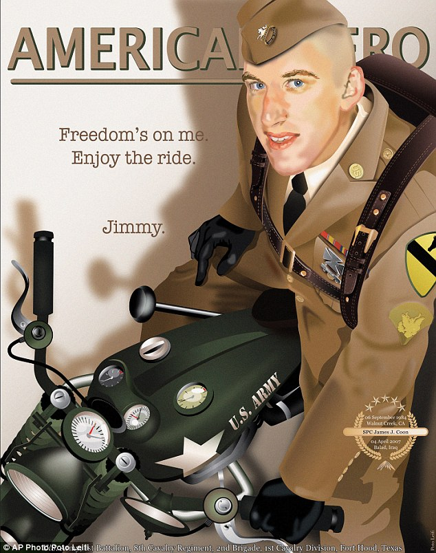 Poster boy: Army specialist James Coon, from California, who died in an explosion in Iraq, sits astride a motorbike with the words: 'Enjoy the ride'