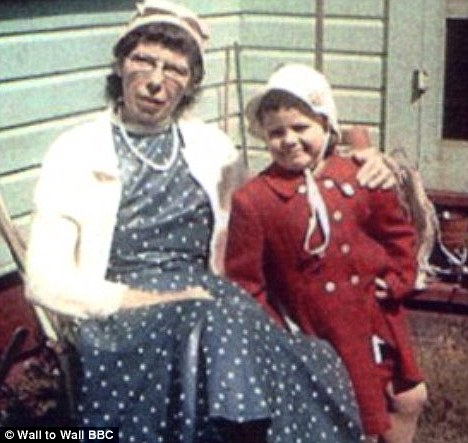 Hard life: Kim pictured with her grandmother Marion who was left to raise three children in squalid conditions