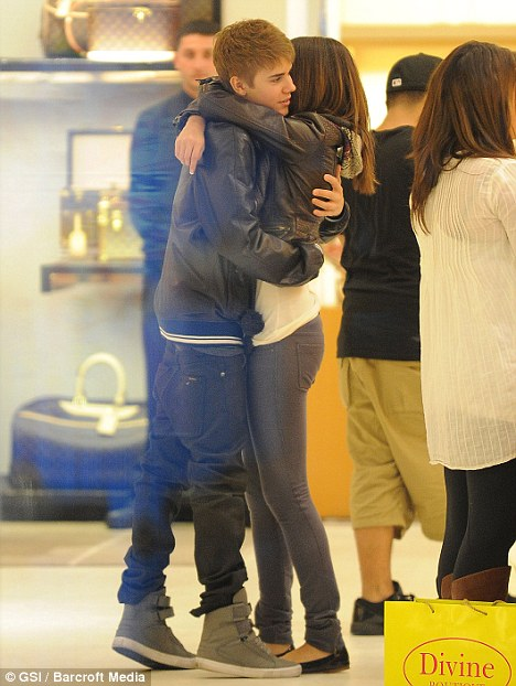 Not your average teen romance: While most teenagers hang around the food court, Justin and Selena shopped at Louis Vuitton