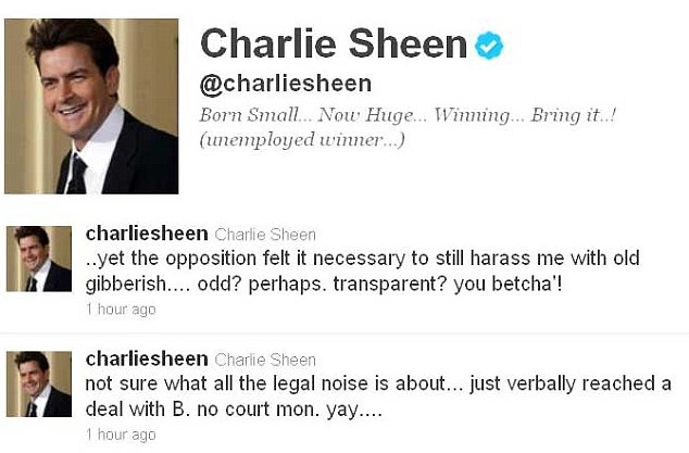 Unemployed winner: Sheen's updates regarding his custody case on Twitter