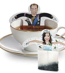 This undated image provided by Donkey-Products in Hamburg, Germany, Thursday, March 3, 2011 shows tea bags depicting Britain's Prince William and his fiancee Kate Middleton