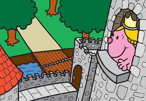 Throw down your hair: The pictures depict some princess cliches - like being stuck in a tower. But this is a happy heroine