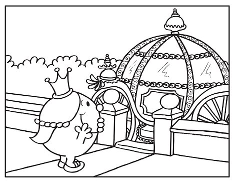 Not black and white: The colouring book will let children put their own mark on the big day - including making the princess a brunette