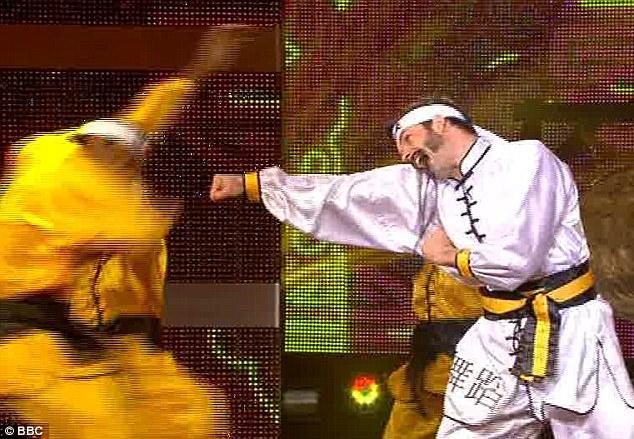 Little bit frightening: Marcus Brigstocke danced to Carl Douglas's Kung Fu Fighting