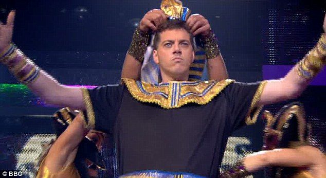 Quick change: The comedian and Absolute Radio presenter transformed into an Egyptian pharaoh half way through his routine