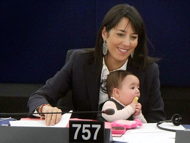 Politically active: Vittoria Ronzuilli looks alert as her MEP mother Licia attends the session of the European Parliament in Strasbourg