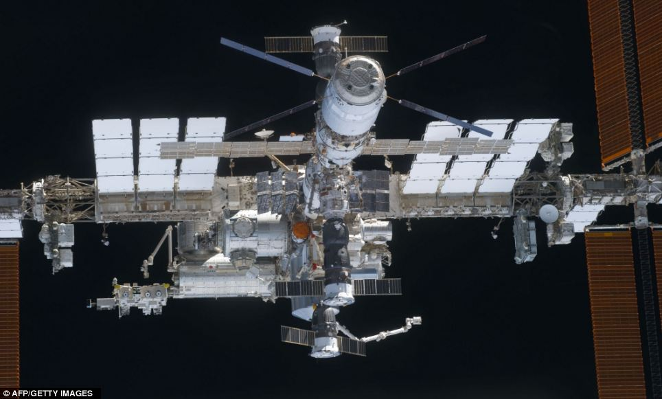 A close-up view of the International Space Station from the space shuttle Discovery after the undocking of the two
