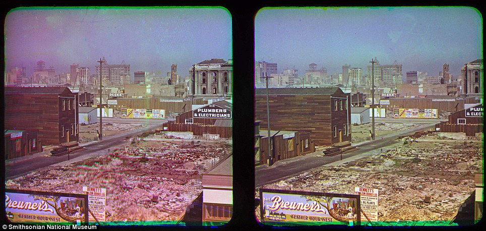 Thought to be the first colour photos from the devastating earthquake were taken by pioneer photographer Frederick Eugene Ives