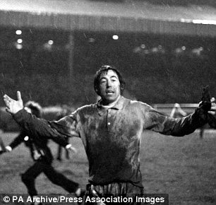 Gordon Banks makes a gesture of jubilation after Stoke City's dramatic 3-2 victory over West Ham