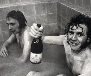 Terry Conroy (right) and Jimmy Greenhoff celebrate Stoke's victory