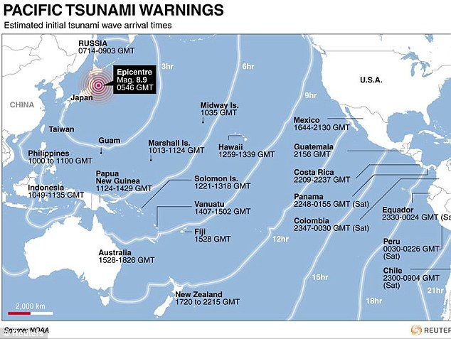 On its way: The tsunami was expected to hit islands across the Pacific at these times
