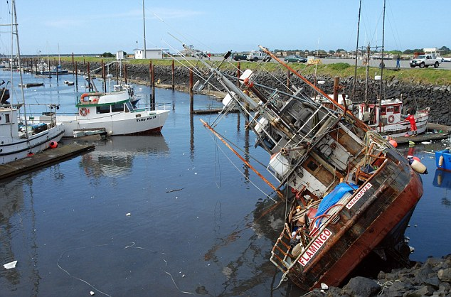 Capsizing: All 35 of the boats left in Crescent City harbour sank or were damaged as eight-feet high waves battered the coast