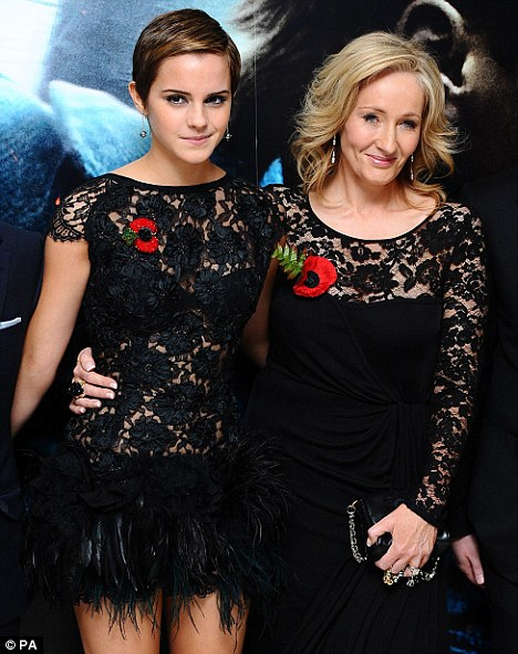 Multi-millionaire: Rowling with Harry Potter actress Emma Watson at the London premiere of Harry Potter and The Deathly Hallows : Part One last year