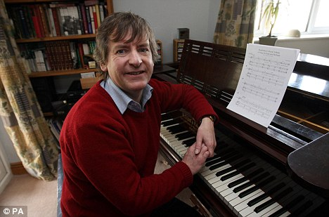 Daniel Nicholls, Kate Middleton's former piano teacher, who has written a song for her upcoming wedding to Prince William, at his home in Bucklebury, Berkshire.