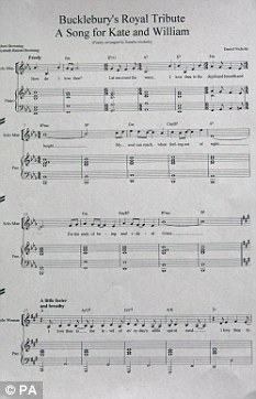 The sheet music for a song Daniel Nicholls, Kate Middleton's former piano teacher, has written as a tribute to her upcoming wedding to Prince William, at his home in Bucklebury, Berkshire