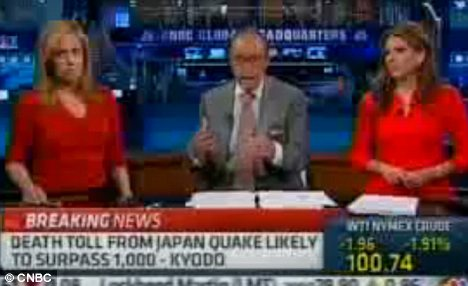 Blunder: CNBC's Larry Kudlow, shocked viewers when he said they could be 'grateful' the human toll caused by the earthquake and subsequent tsunami was worse than the toll on the economy