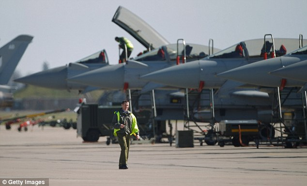 Call of duty: Typhoon Euro Fighters are prepared to implement the Libya no-fly zone at RAF Coningsby today