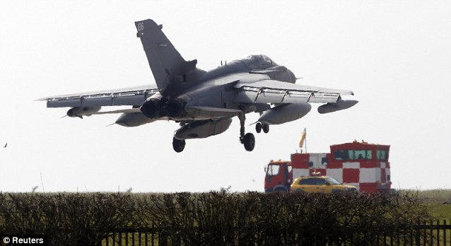 Sortie: Intelligence gathered by special forces has been used by British defence chiefs to help RAF Tornado fighters deliver devastating strikes