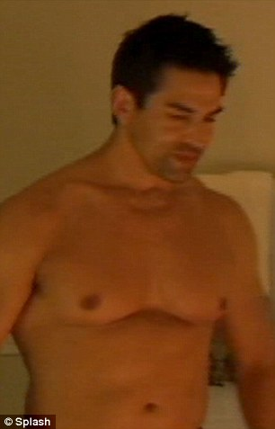 Ready for action: Eddie stripped off before joining Tamra in the tub
