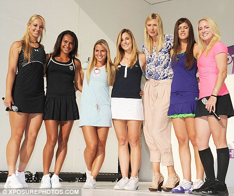 Meet the girls: Maria introduces the show's players (L-R) Sabine Lisicki, Heather Watson, Dominika Cibulkova, Alize Cornet, Sorana Cirstea and Bethanie Mattek-Sands