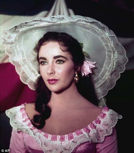 Elizabeth Taylor is shown in costume for her character in the 1957 film Raintree County