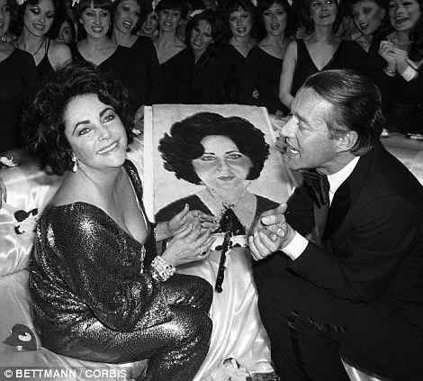 Party girl: Taylor and fashion designer Halston celebrating her 64th birthday at the legendary Studio 54 nightclub in New York (left)