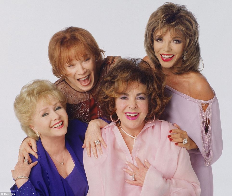 Firm friends: Despite the Eddie Fisher scandal, Taylor remained friends with Debbie Reynolds (far left), co-starring alongside her, Shirley MacLaine and Joan Collins in 2001 TV movie These Old Broads