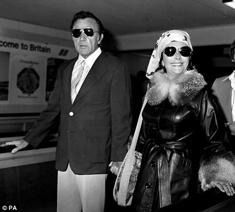 Jet-setting: Taylor and Burton on a boat at the isle of Ischia in southern Italy in 1962 (left) and flying into Heathrow Airport from South Africa in 1975