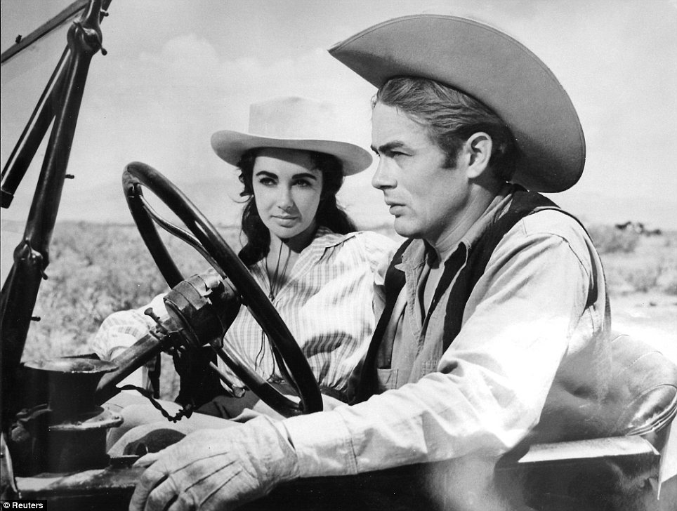 Tragic co-star: Elizabeth with her Giant co-star James Dean in the 1956 film - which was released after his death the previous year in a car accident