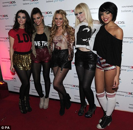 Short shorts: Girl group Parade - who supported Alexandra Burke on tour - pose in their hotpants as they arrived at the bash