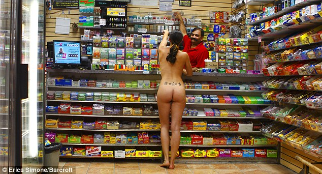Erica goes to her local convenience store for a packet of cigarettes in the nude as part of the project which she got the idea for at Fashion Week two years ago