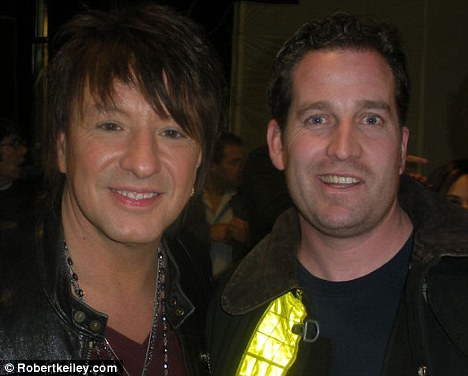 Aspiring actor: Robert Keiley appeared in a music video with Bon Jovi. He is pictured here with the band's guitarist Richie Sambora, left