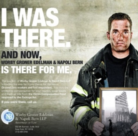 Fake: The advert for a controversial 9/11 law firm uses an image of Robert Keiley, who didn't join the fire service until 2004