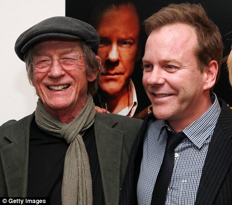 All-star cast: John Hurt (left) and Kiefer Sutherland (right) at a screening of their new web-only drama, The Confession, in New York last night