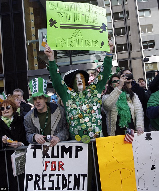 Support: Some of Mr Trump's backers at New York's Saint Patrick's Day parade. However, he may face calls to prove he really was born on American soil before he can run