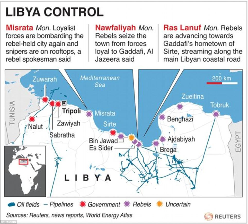 Map of Libya showing state of control by town